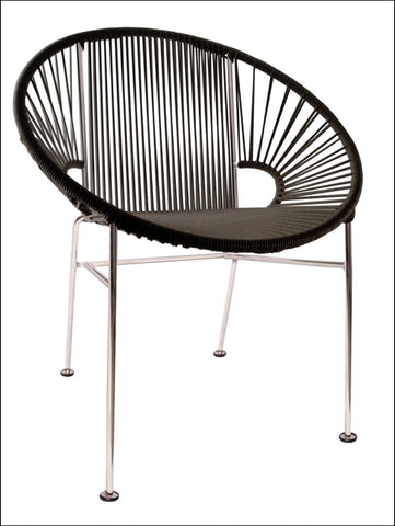 Innit Concha Chair Chrome Frame With Black Weave