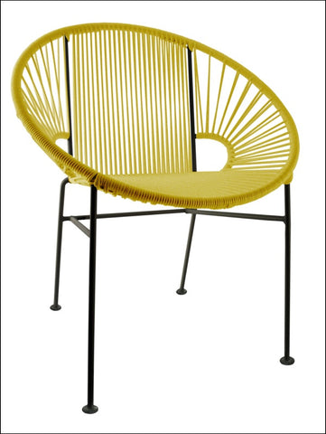 Innit Concha Chair-  Yellow Weave On Black Frame
