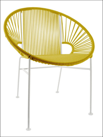 Innit Concha Chair White Frame With Yellow Weave