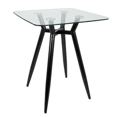 Clara Counter Table - Black & Clear Glass