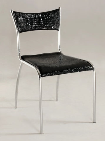 Chintaly Slim Upholstered Back Side Chair Black Pvc DAISY-SC