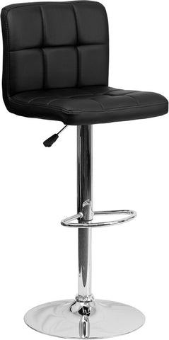Contemporary Black Quilted Vinyl Adjustable Height Bar Stool with Chrome Base
