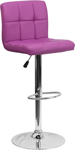 Contemporary Purple Quilted Vinyl Adjustable Height Bar Stool with Chrome Base