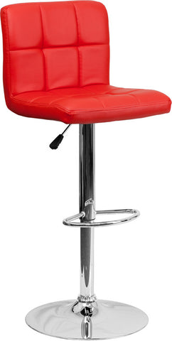 Contemporary Red Quilted Vinyl Adjustable Height Bar Stool with Chrome Base