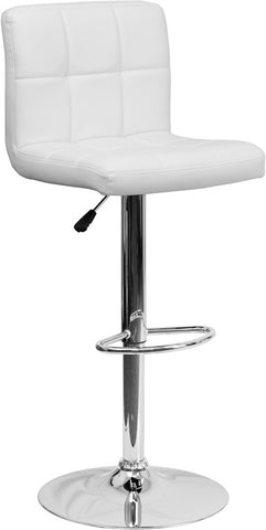 Contemporary White Quilted Vinyl Adjustable Height Bar Stool with Chrome Base