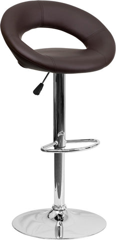 Contemporary Brown Vinyl Rounded Back Adjustable Height Bar Stool with Chrome Base