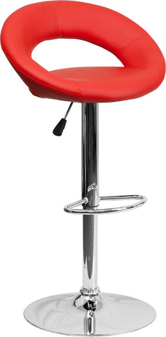 Contemporary Red Vinyl Rounded Back Adjustable Height Bar Stool with Chrome Base