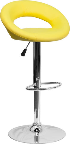 Contemporary Yellow Vinyl Rounded Back Adjustable Height Bar Stool with Chrome Base