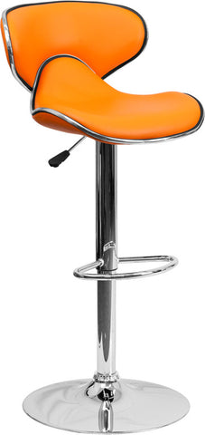 Contemporary Cozy Mid-Back Orange Vinyl Adjustable Height Bar Stool with Chrome Base