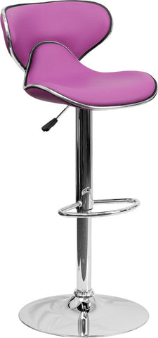 Contemporary Cozy Mid-Back Purple Vinyl Adjustable Height Bar Stool with Chrome Base