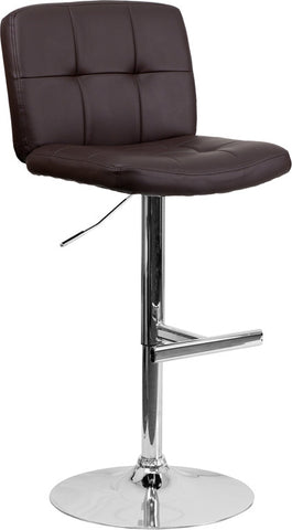 Contemporary Tufted Brown Vinyl Adjustable Height Bar Stool with Chrome Base