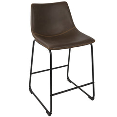 Duke Counter Stool - Black & Espresso & Orange Stitch