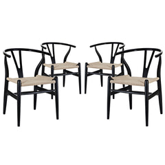 Amish Dining Armchair Set of 4 Black - YourBarStoolStore + Chairs, Tables and Outdoor
