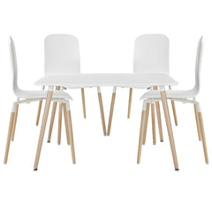 Stack Dining Chairs and Table Wood Set of 5 White - YourBarStoolStore + Chairs, Tables and Outdoor
