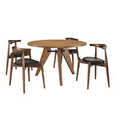 Stalwart Dining Chairs and Table Set of 5 Dark Walnut Black - YourBarStoolStore + Chairs, Tables and Outdoor
