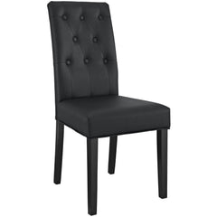 Confer Dining Vinyl Side Chair Black - YourBarStoolStore + Chairs, Tables and Outdoor