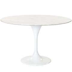 "Lippa 48"" Marble Dining Table White - YourBarStoolStore + Chairs, Tables and Outdoor"