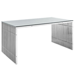 Gridiron Stainless Steel Dining Table Silver - YourBarStoolStore + Chairs, Tables and Outdoor