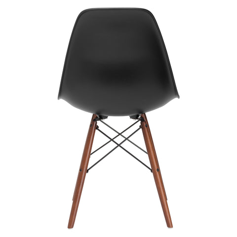 Vortex Side Chair Walnut Legs in Black (Set of 2) EM-105-WAL-X2