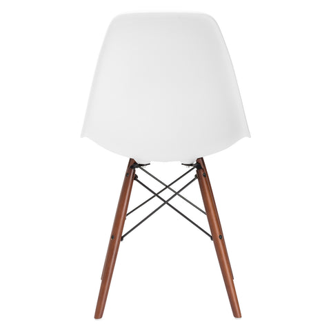 Vortex Side Chair Walnut Legs in White EM-105-WAL