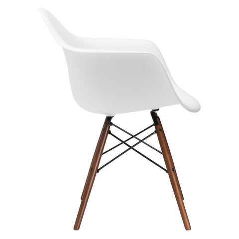 Vortex Arm Chair Walnut Leg in White EM-110-WAL