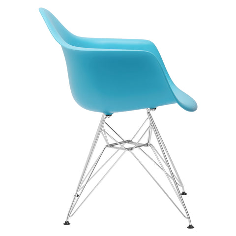 Padget Arm Chair in Aqua (Set of 2) EM-111-CRM-X2