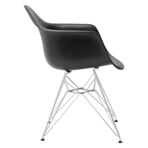 Padget Arm Chair in Black EM-111-CRM