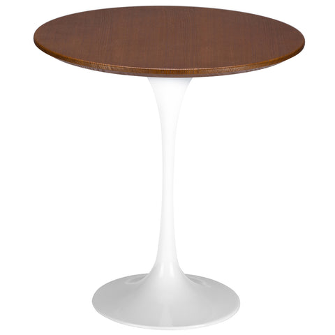 "Daisy 20"" Walnut Top Side Table in White  EM-143"