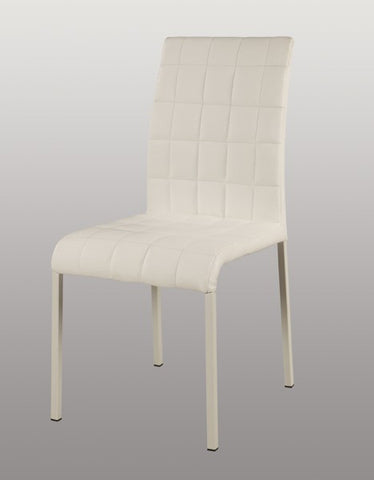 Chintaly Upholstered Back Side Chair White Pvc FIELDING-SC-WHT