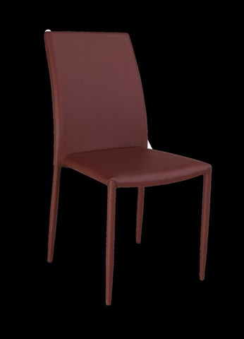 Chintaly Fully Upholstered Stackable Side Chair Burgundy Pu FIONA-SC-BRG