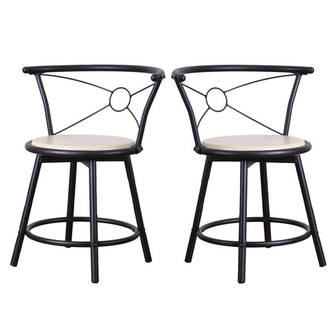 Beech Color Wood Bistro Chairs with Metal Frame (Set of 2)