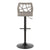Folia Barstool - Black Metal & Light Grey Wood and Fabric