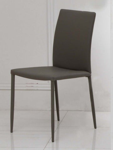 Chintaly Fully Covered Tapered Leg Side Chair Grey Pu GINA-SC