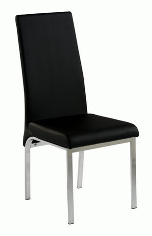 Chintaly Upholstered Back Side Chair Black Pu GLORIA-SC-BLK