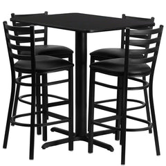 24''W x 42''L Rectangular Black Laminate Table Set with 4 Ladder Back Metal Bar Stools - Black Vinyl Seat - YourBarStoolStore + Chairs, Tables and Outdoor
