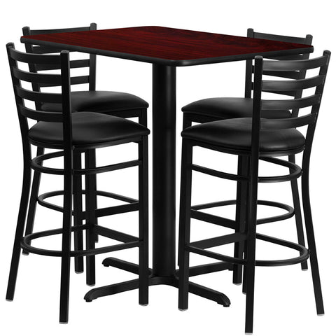 24''W x 42''L Rectangular Mahogany Laminate Table Set with 4 Ladder Back Metal Bar Stools - Black Vinyl Seat