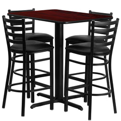 24''W x 42''L Rectangular Mahogany Laminate Table Set with 4 Ladder Back Metal Bar Stools - Black Vinyl Seat - YourBarStoolStore + Chairs, Tables and Outdoor