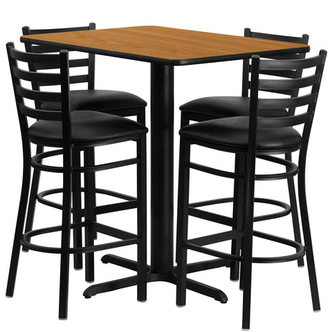 24''W x 42''L Rectangular Natural Laminate Table Set with 4 Ladder Back Metal Bar Stools - Black Vinyl Seat