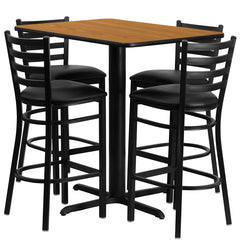24''W x 42''L Rectangular Natural Laminate Table Set with 4 Ladder Back Metal Bar Stools - Black Vinyl Seat - YourBarStoolStore + Chairs, Tables and Outdoor