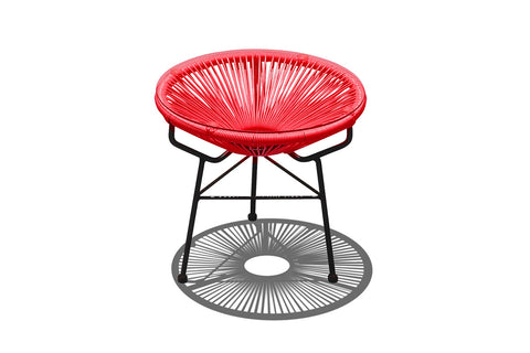 Acapulco Outdoor Side Table/Ottoman - Candy Apple with Black Frame