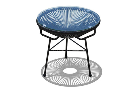 Acapulco Outdoor Side Table/Ottoman - Jet Black