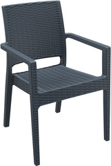 Ibiza Resin Wickerlook Dining Arm Chair Dark Gray