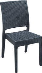 Florida Resin Wickerlook Dining Chair Dark Gray