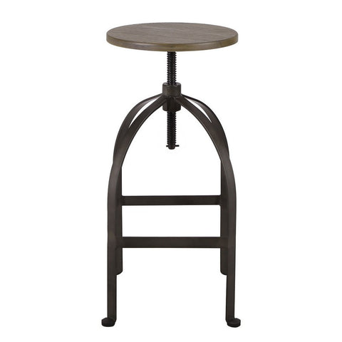 Adjustable Logan Metal Stool With bamboo Seat