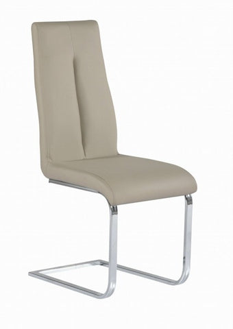 Chintaly Cantilever Chair With Back Handle Taupe Pu JACQUELIN-SC-TPE