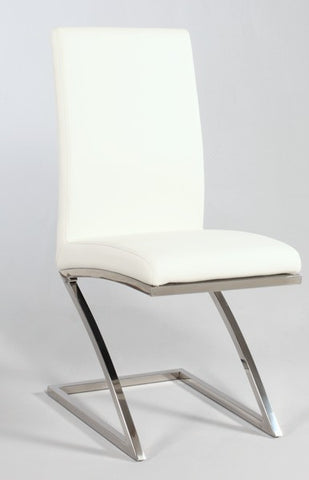 "Chintaly ""Z"" Frame Contemporary Side Chair White Pu JADE-SC"