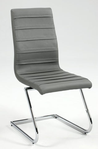 Chintaly High Back Brewer Style Side Chair Grey Pu JANET-SC