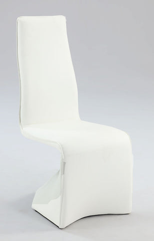 Chintaly Fully Upholstered Contour Back Side Chair White Pu JOANN-SC-WHT