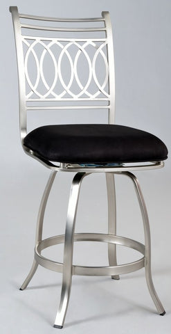 Chintaly Memory Return Swivel Bar Stool Black Suede JULIA-BS