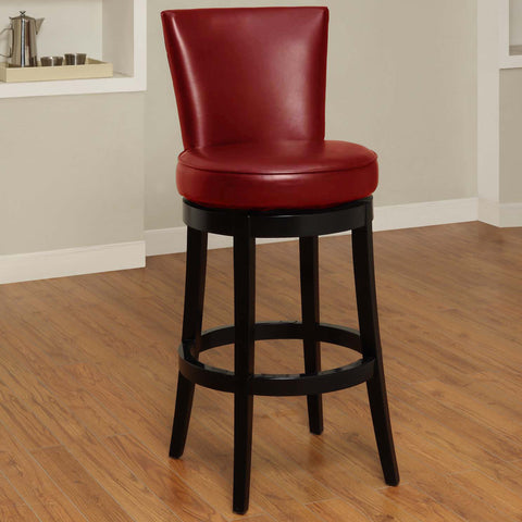 "Armen Living Boston Swivel Barstool In Red Bonded Leather 26"" seat height LC4044BARE26"